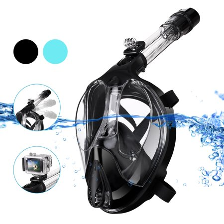 Diving Mask, 180° Full Face Snorkel Diving Mask Easy Breath Snorkeling Mask with Camera Mount , Anti-Fog, Hypoallergenic for Adult Kids ()