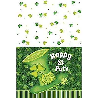 plastic lucky stripes st. patrick's day tablecloth, 7ft x...