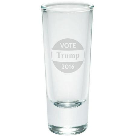 Election Button (Election 2016 Vote Donald Trump Button Etched Shot Glass Shooter )