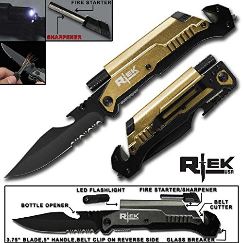 "9"" Tactical Spring Assisted Red Survival 7 in 1 Rescue Pocket Knife LED Light Fire Starter Blade Sharpener Bottle Opener Glass Breaker Belt Cutter (Gold)"