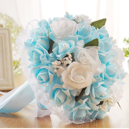 Crystal Roses Bridesmaid Wedding Bouquet Bridal Artificial Silk Flowers (Silk Rose Bridal Bouquet)