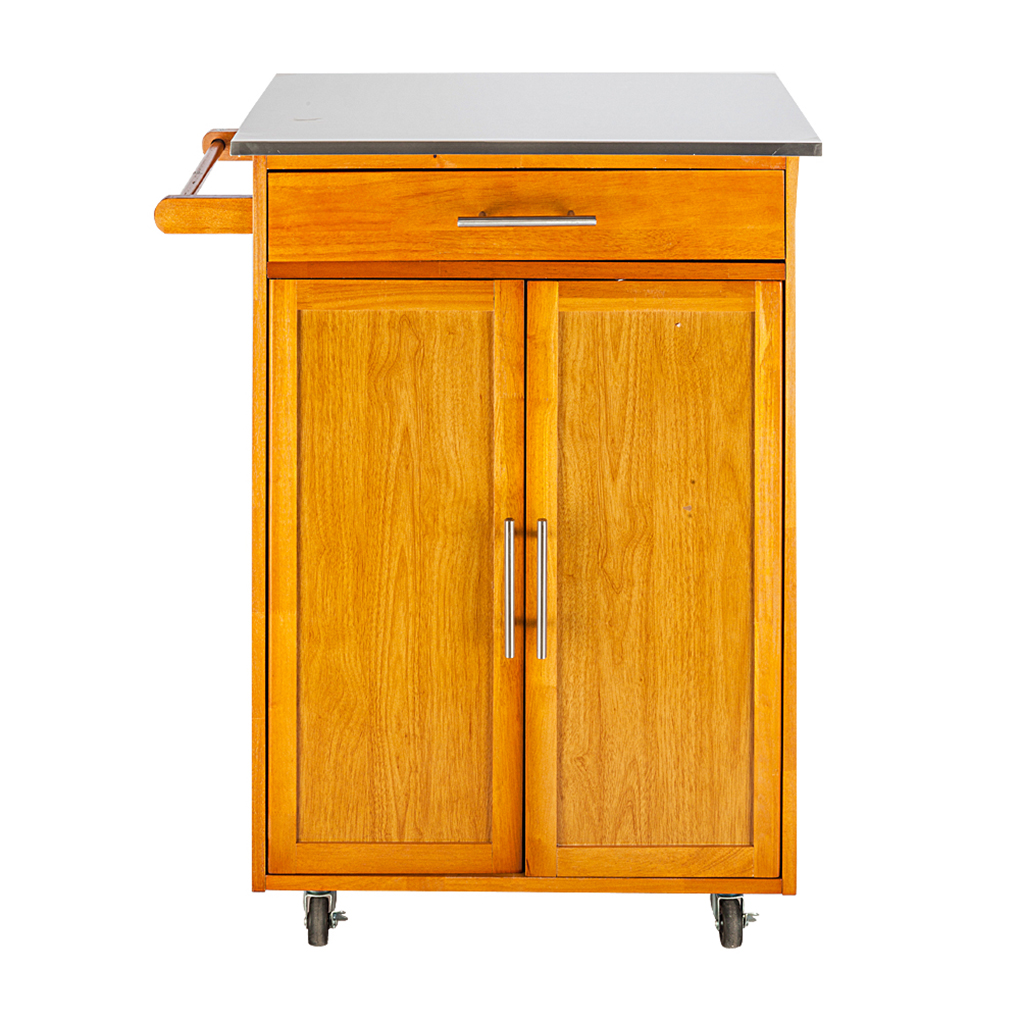 Kitchen Cart With Cabinet: Moveable Kitchen Cart With Stainless Steel Table Top One