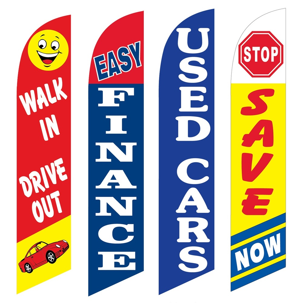 4 Advertising Swooper Flags Walk In Drive Out Easy Finance Used Cars Stop Save Now