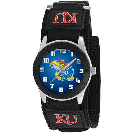 Game Time NCAA Kids' University of Kansas Jayhawks Rookie Series Watch, Black Velcro Strap
