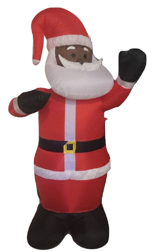 Black African American Santa Claus 8u0027 Inflatable Airblown Christmas Yard  Decor