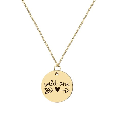 Anavia Wild One Inspirational Stainless Steel Gold Disc Necklace 22mm Pendant Jewelry With Gift Box