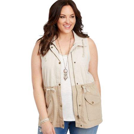Plus Size Colorblock Zip Front Anorak Vest
