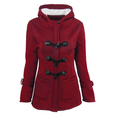 Women Hooded Long Section Wool Blend Jacket with Leather Ox Horn Shape Buckle - image 2 of 4