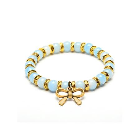 Elya Bow Tie Charm Baby Blue Jade Stone Beaded Bracelet