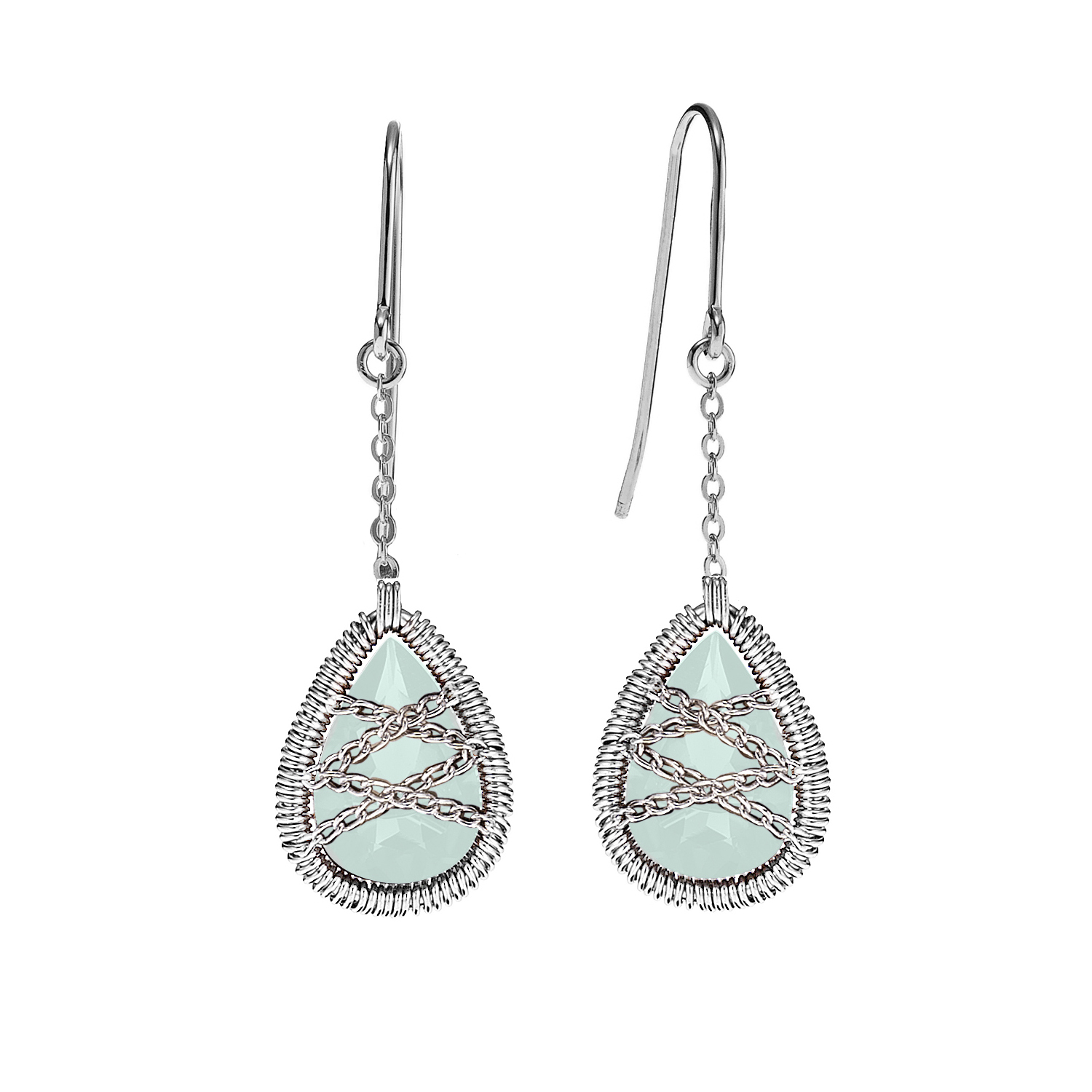 Sterling Silver Hand Wrapped Dangle Teardrop Chalcedony Stone Earring by Collection Bijoux