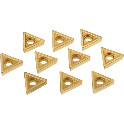 Grizzly T21588 60 TiN Coated Carbide Inserts w/ Chip Breaker - TCMT-21.51, 10 Pack
