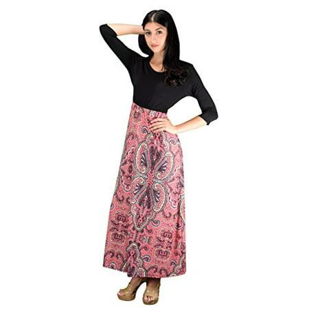 74e708d2a2 Peach Couture - Peach Couture Womens Casual Black Kaleidoscope Two Tone  Paisley Maxi Dress - Walmart.com