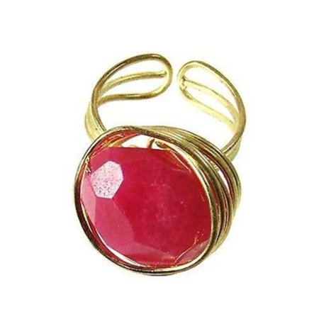 - WorldFinds Agate Chunk Statement Ring, Berry
