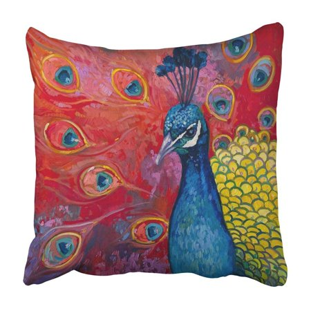 WOPOP Colorful Feather Original Oil Painting On Canvas Beautiful Multicolored Peacock Modern Pillowcase 18x18 inch