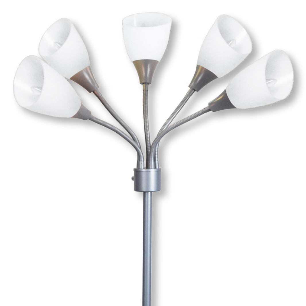 Light Accents Medusa Grey Floor Lamp with White Acrylic Shades by LightAccents