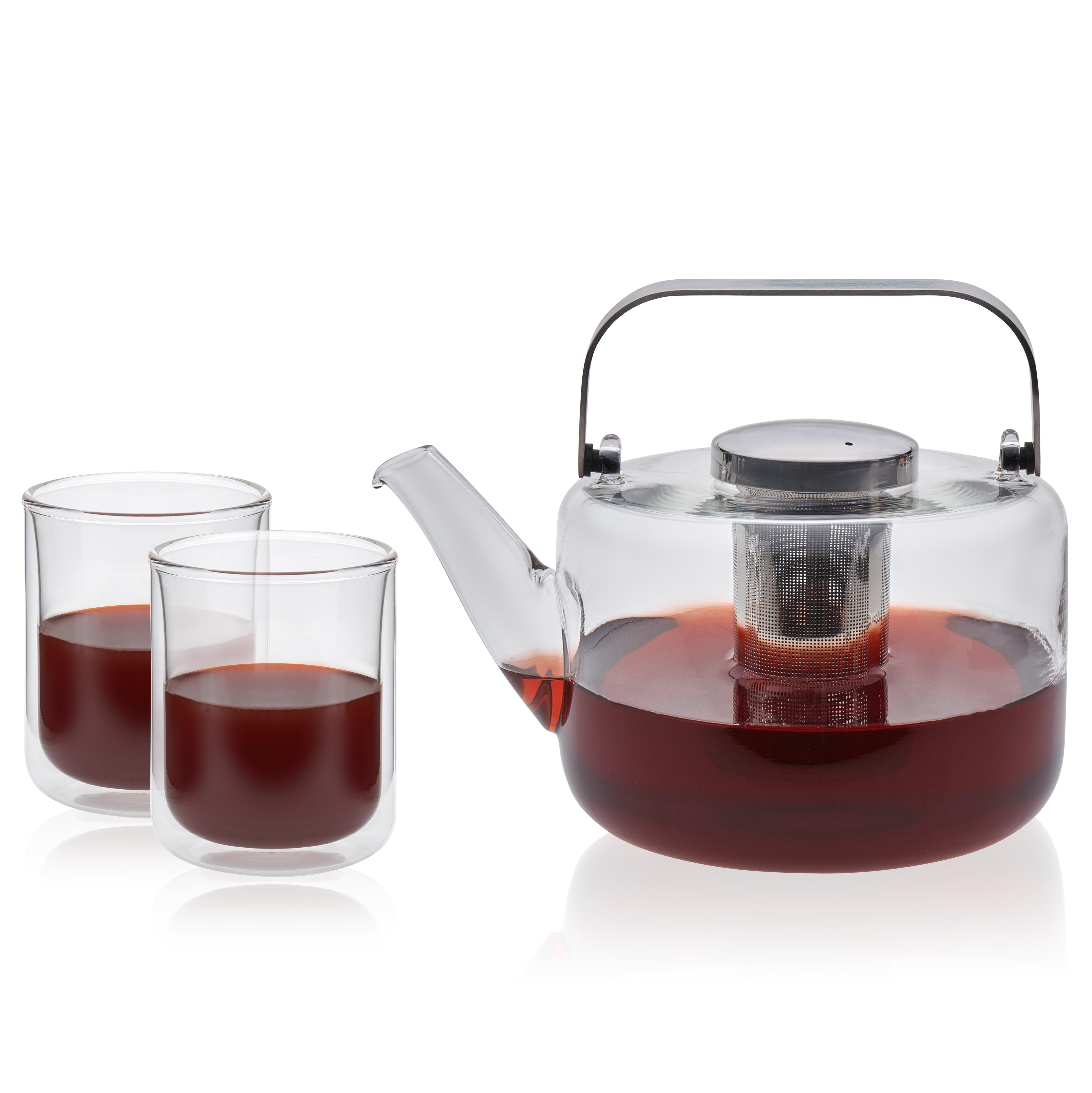 VIVA Scandinavia Bjorn Glass Teapot and Classic Double Walled Glass Drinkware Set, 11.7-ounce Tea Glasses & 44-ounce Glass Teapot, Borosilicate (Set of 3)