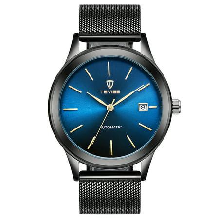 Bulova Self Winding Watch (TEVISE Brand Luxury Gold Automatic Mechanical Men Watch Water-Proof Mesh Stainless Steel Band Self-Winding Man Casual Wristwatch + Box)