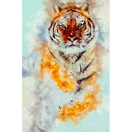 Stunning Tiger Running in The Snow Watercolor Painting Print Home Decor Poster 24x36