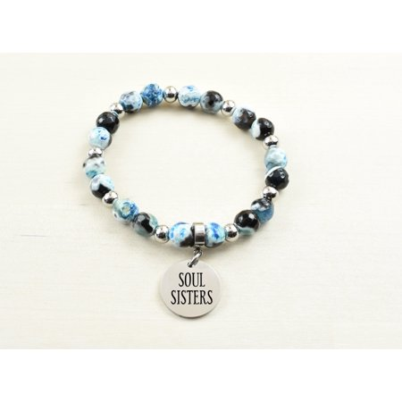Holly Blue Agate (Genuine Agate Inspirational Bracelet - Blue - Soul)