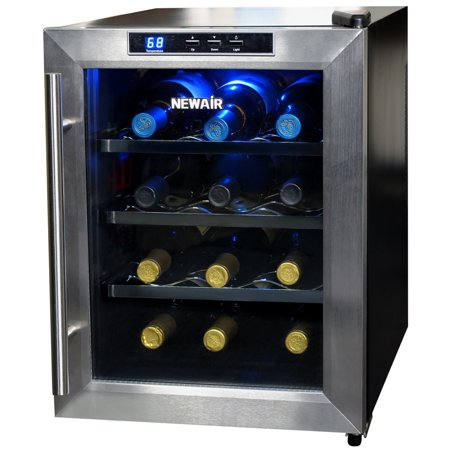 NewAir AW-121E Quiet 12-Bottle Thermoelectric Stainless Steel Door Wine  Refrigerator with Digital