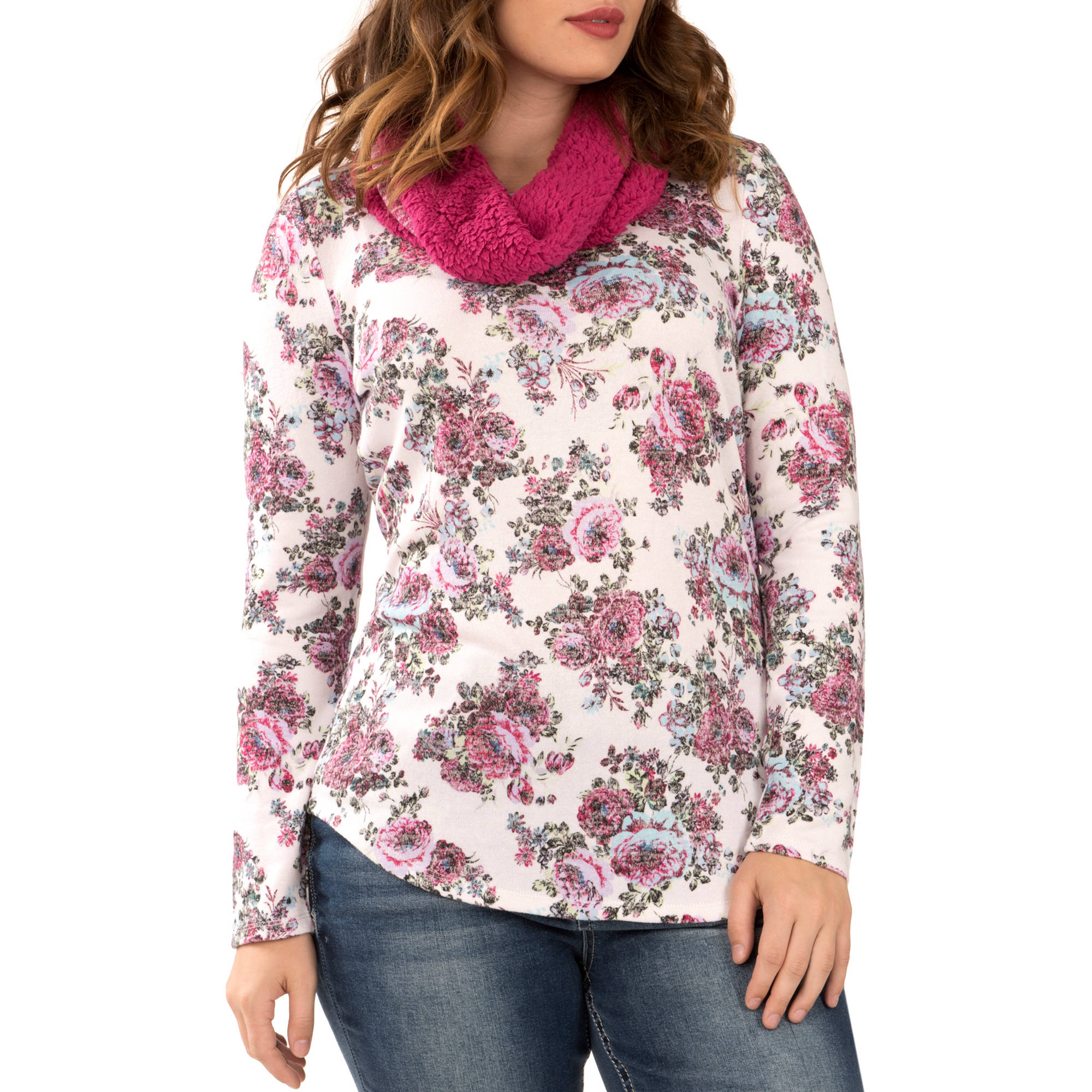 Faded Glory Women's Long Sleeve Printed 2fer With Sherpa Lined Scarf