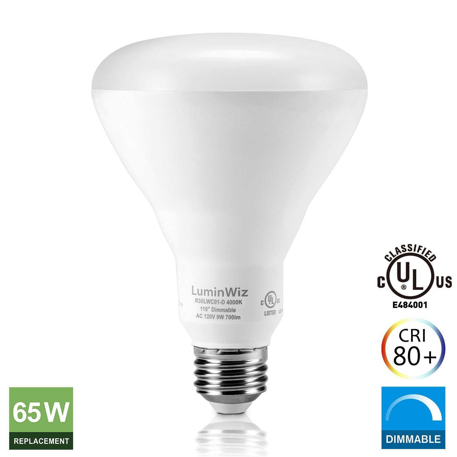 luminwiz 9w 4000k 700lm daylight white dimmable flood light bulb br30 led bulbs65w equivalent - Flood Light Bulbs