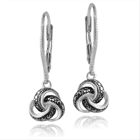 Sterling Silver Black Diamond Accent Love Knot Dangle Leverback (Diamond Accent Leverback Earrings)