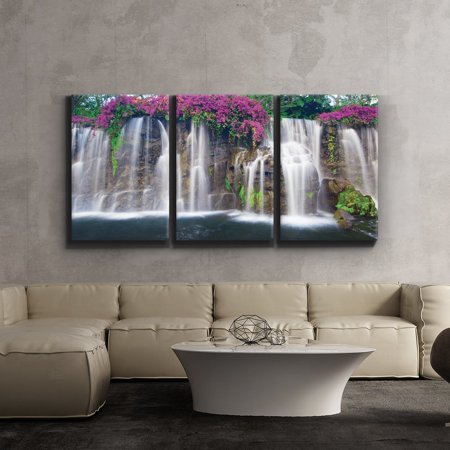 3 Piece Canvas Print - Contemporary Art, Modern Wall Decor - Lush Waterfall and flowers - Giclee Artwork - Gallery Wrapped Wood Stretcher Bars - Ready to Hang- Wall26-24 x36 x3 Panels (Contemporary Canvas Art)