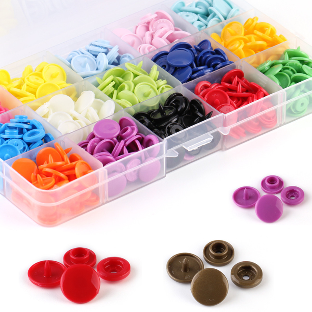 Snap Button Kit of 400 Pcs Plastic Snap Fastener with Snap Plier for Clothing Sewing Crafting Storage Box Included 24 Colors