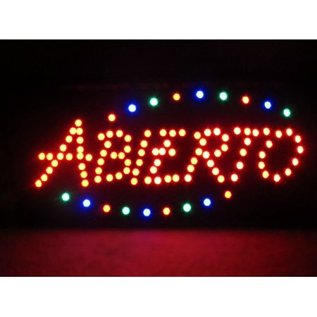 2xhome - Open Abierto Sign High Visible Bright Colors Led Moving Flashing Animated Neon Sign Motion Light On Off Switch Button Chain Business Cafe Bar Pub Coffee Shop Store Wall Window Display - Open Abierto Neon Sign