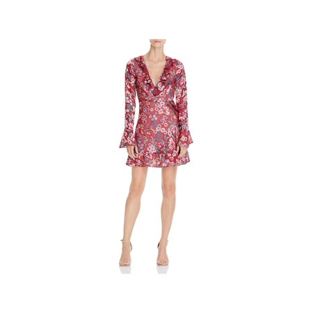 For Love & Lemons Womens Gracie Floral Print Bell Sleeve Cocktail