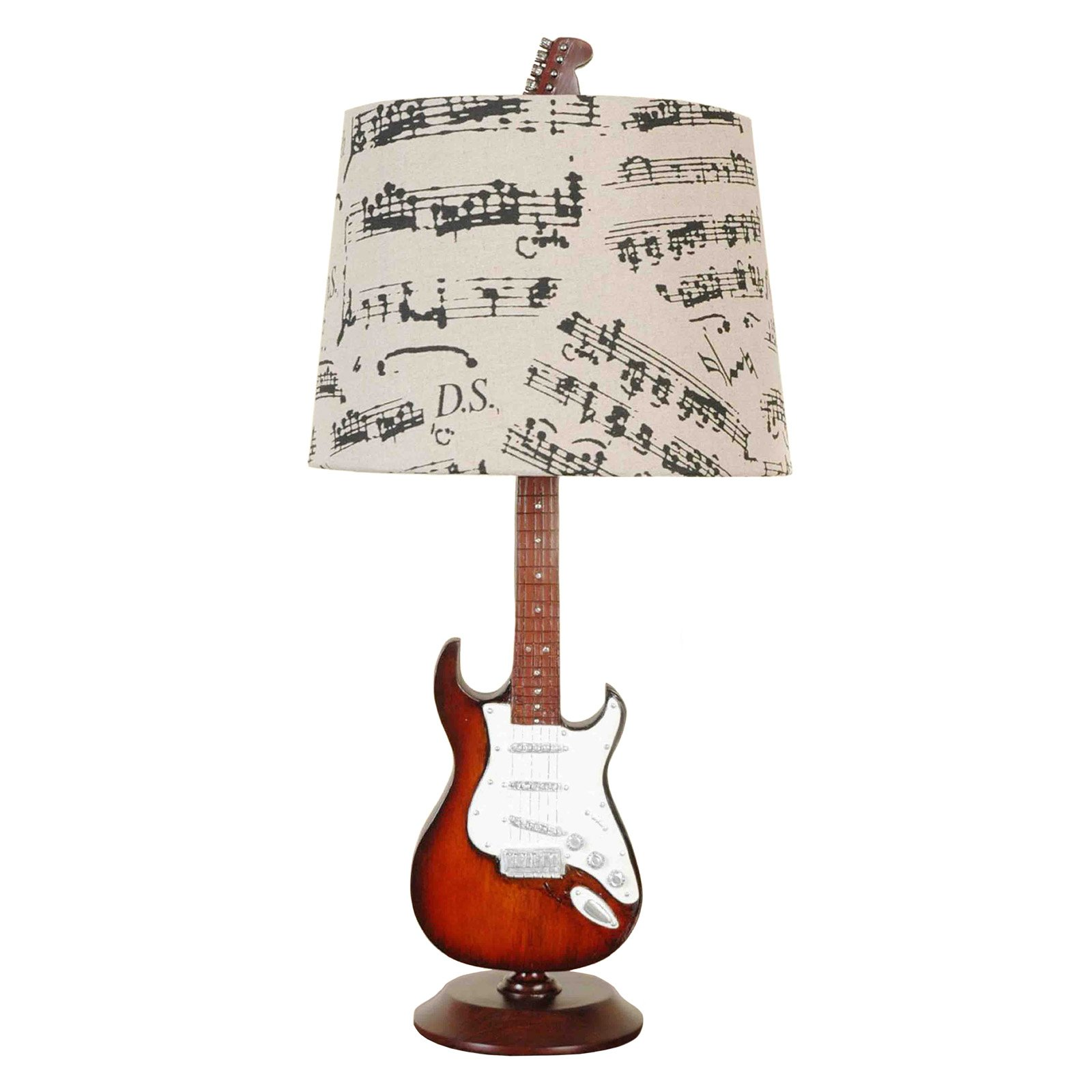 "24.5"" Guitar Desk Lamp/Shade, Base has a guitar design, Shade has music notes, Gift for music lovers, Home, OFfice, Music lessons, Music school, Decor Product Size: 12x24.5"" x12"