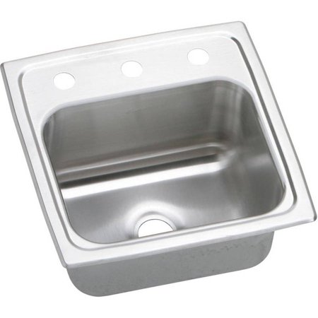 Elkay BPSR153 Gourmet Pacemaker Stainless Steel Single Bowl Top Mount Bar Sink with 3 Faucet Holes
