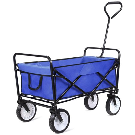 Grocery Cart with Wheels, Collapsible Outdoor Utility Wagon with All-Terrain Wheels, Heavy Duty Beach Wagon with Big Wheels and Drink Holder, Suit for Shopping and Park Picnic, Trip and Camping,I7473