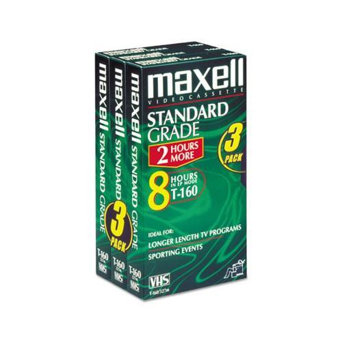 Maxell 213030 Standard Grade VHS Videotape Cassette, T160, 3/Pack