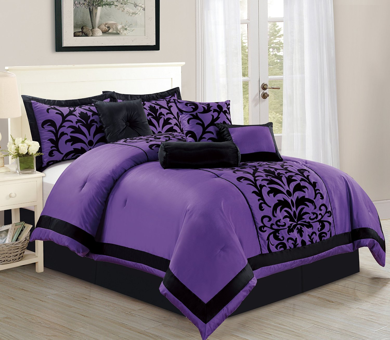 empire home dawn 8 piece comforter set over sized bed in a bag queen size purple