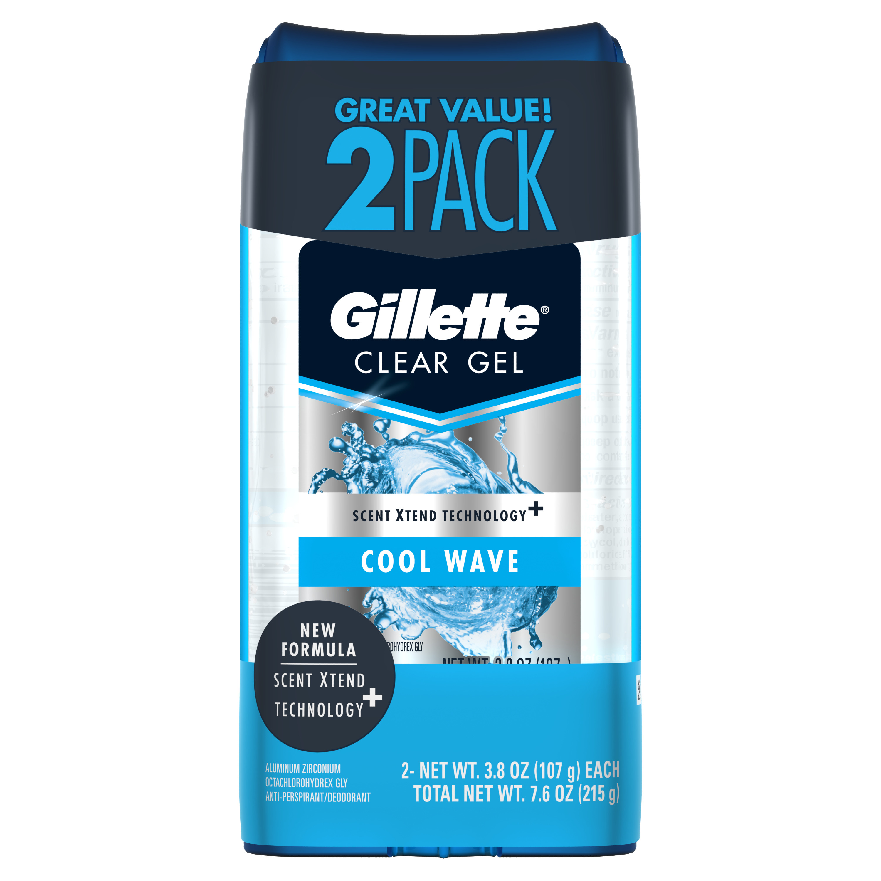 Gillette Cool Wave Clear Gel Men's Antiperspirant and Deodorant, 2 Pack, 3.8 oz each