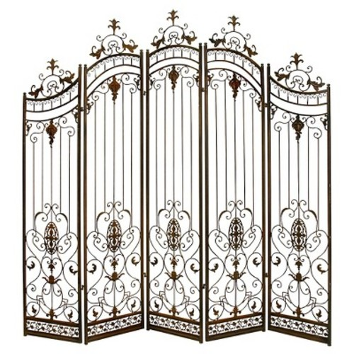 DecMode 80u201d X 80u201d Large Traditional Brown Metal Garden Gate W/ Ornate  Scrollwork