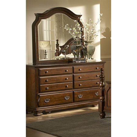 dresser with mirror in brown finish. Black Bedroom Furniture Sets. Home Design Ideas