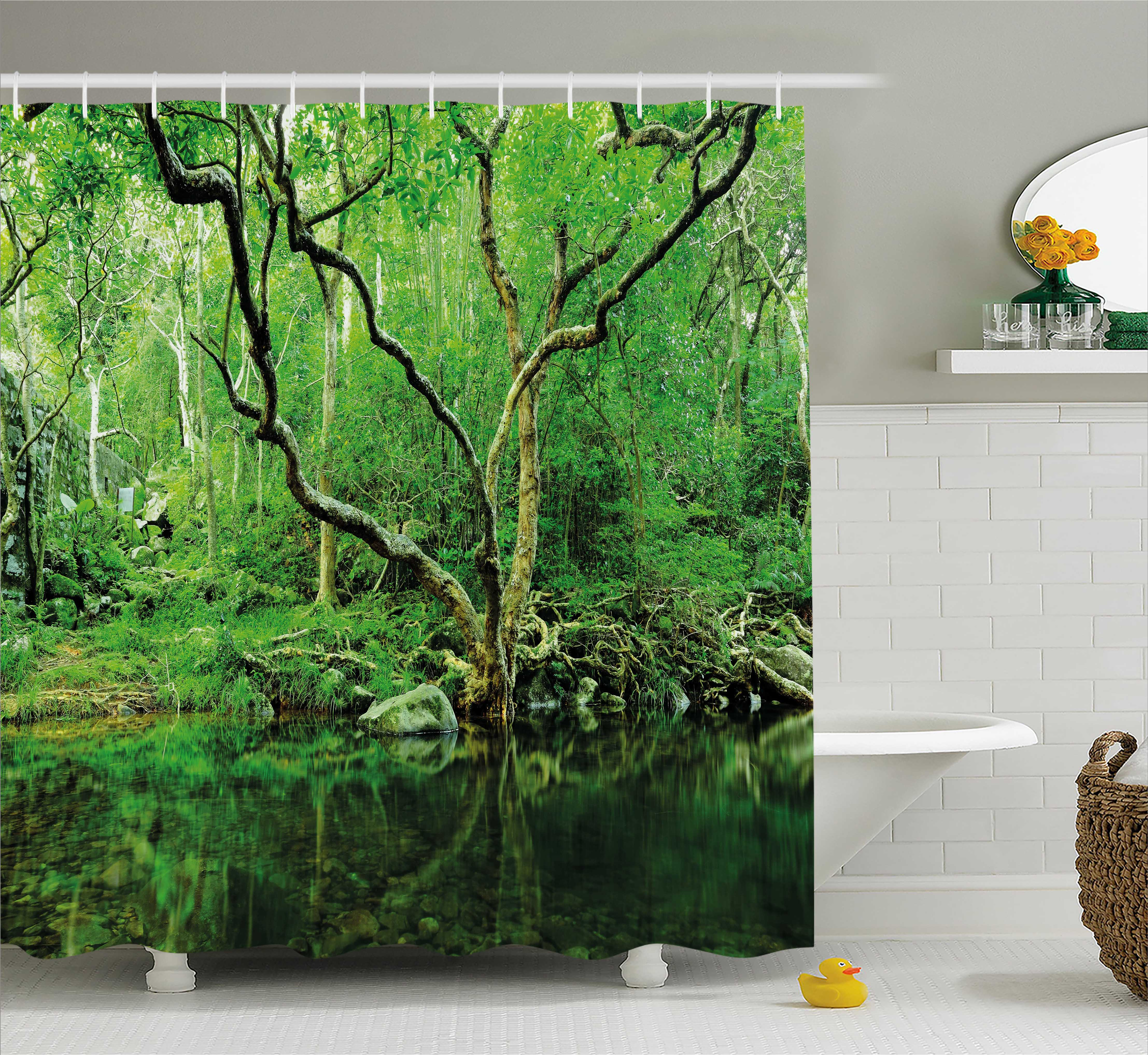 Green Shower Curtain Forest Moss Leaves Nature Themed Isolated Jungle Image Photo Print Fabric Bathroom Set With Hooks Dark Brown And