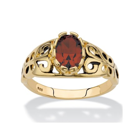 Oval-Cut Birthstone Filigree Ring in 14k Gold over Sterling Silver - January- Simulated Garnet