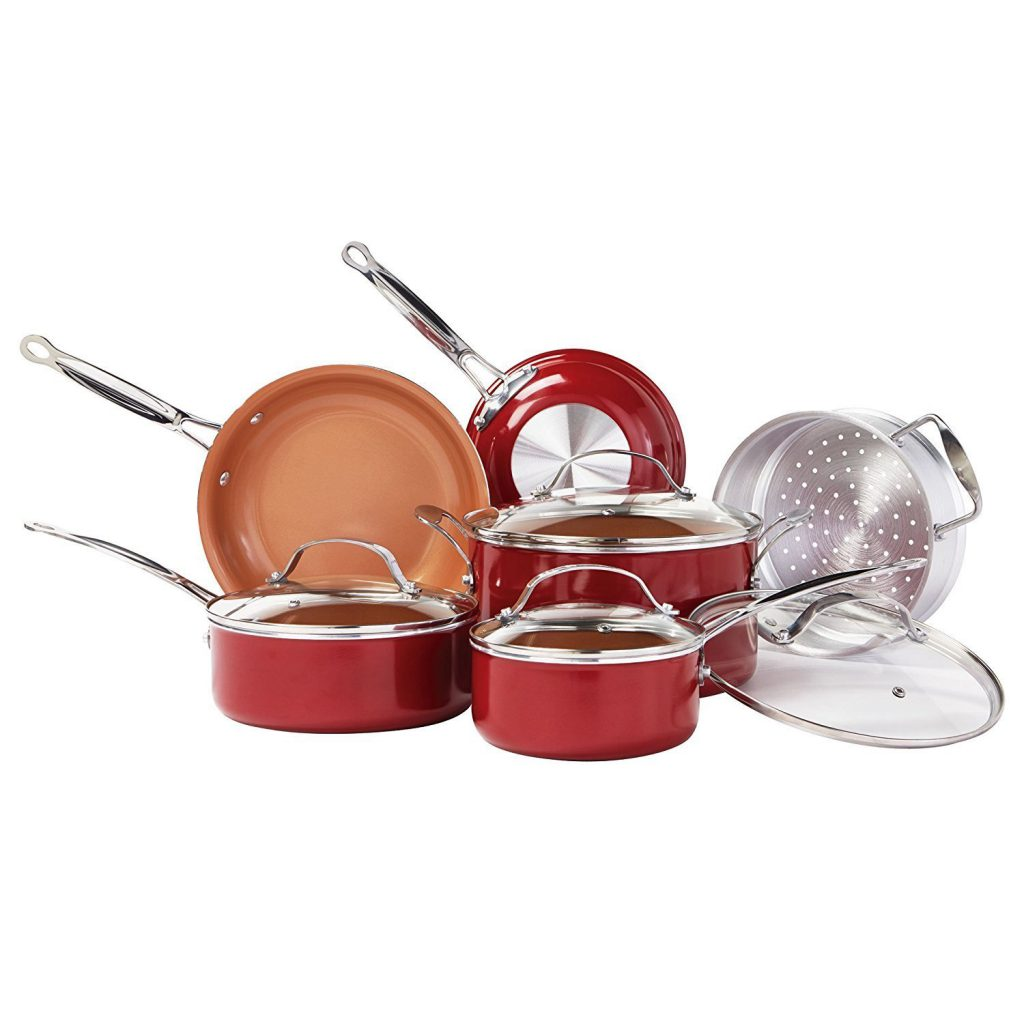 As Seen on TV Red Copper 10 Piece Pan Set