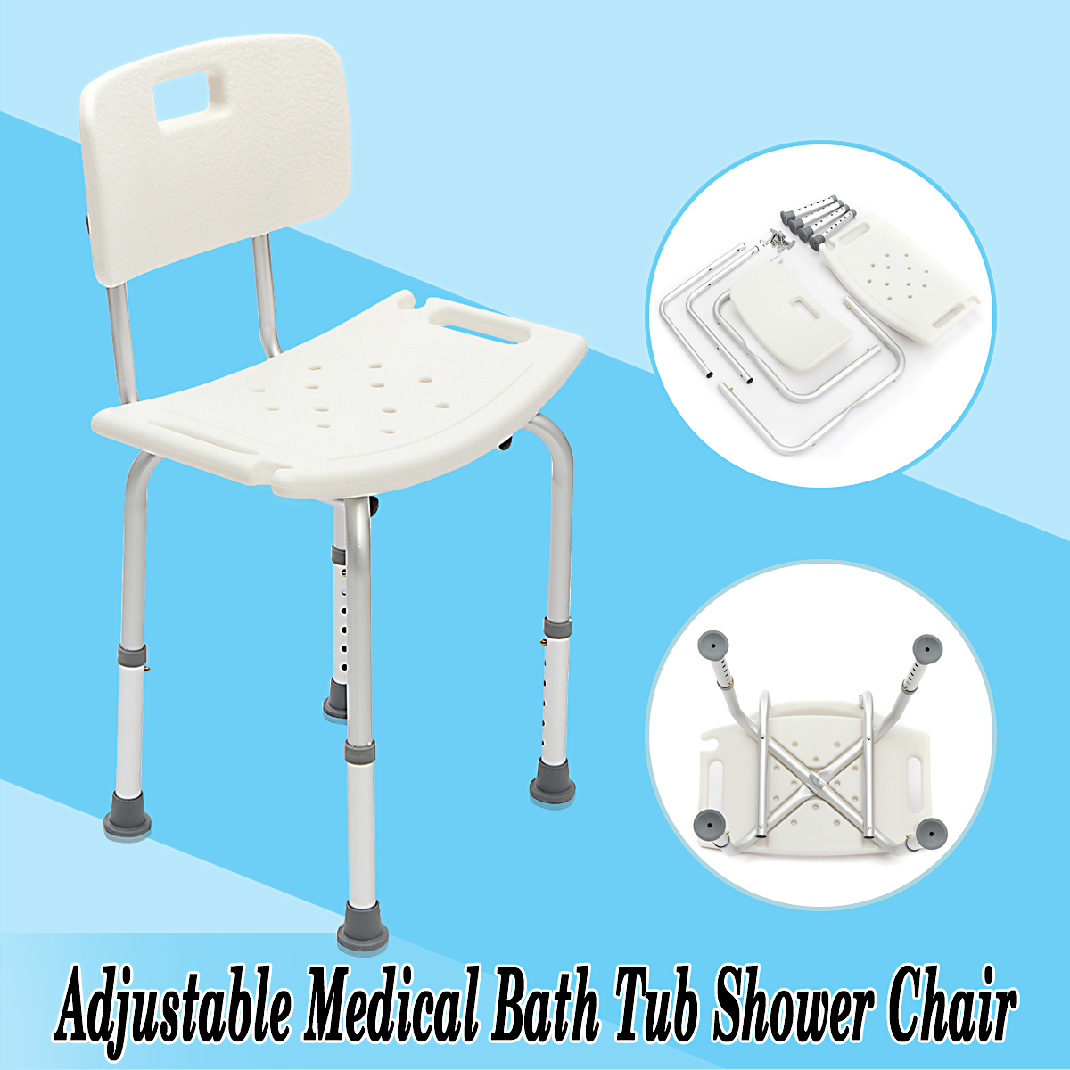 Adjustable Medical Shower Bath Chair Detachable Backrest Bathtub ...