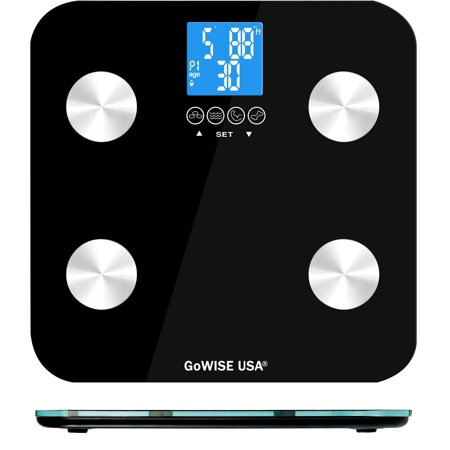GoWISE USA Slim Digital Bathroom Scale Measures Weight, Body Fat, Water, ; Bone Mass 400 Lbs Capacity Tempered Glass (Black)