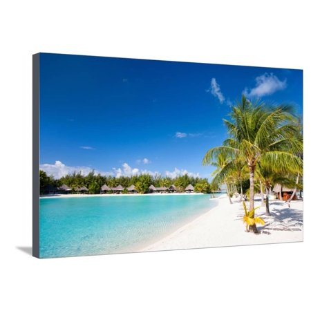 Beautiful Beach on Bora Bora Island in French Polynesia Stretched Canvas Print Wall Art By BlueOrange