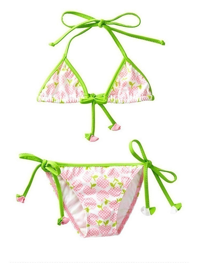 Azul Girls Pink Green Garden Of Eden Pc Triangle Bikini Swimsuit