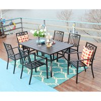 MF Studio Outdoor Patio Dining Set 7 Piece with Rectangular Table and 6 Bistro Chairs, Black