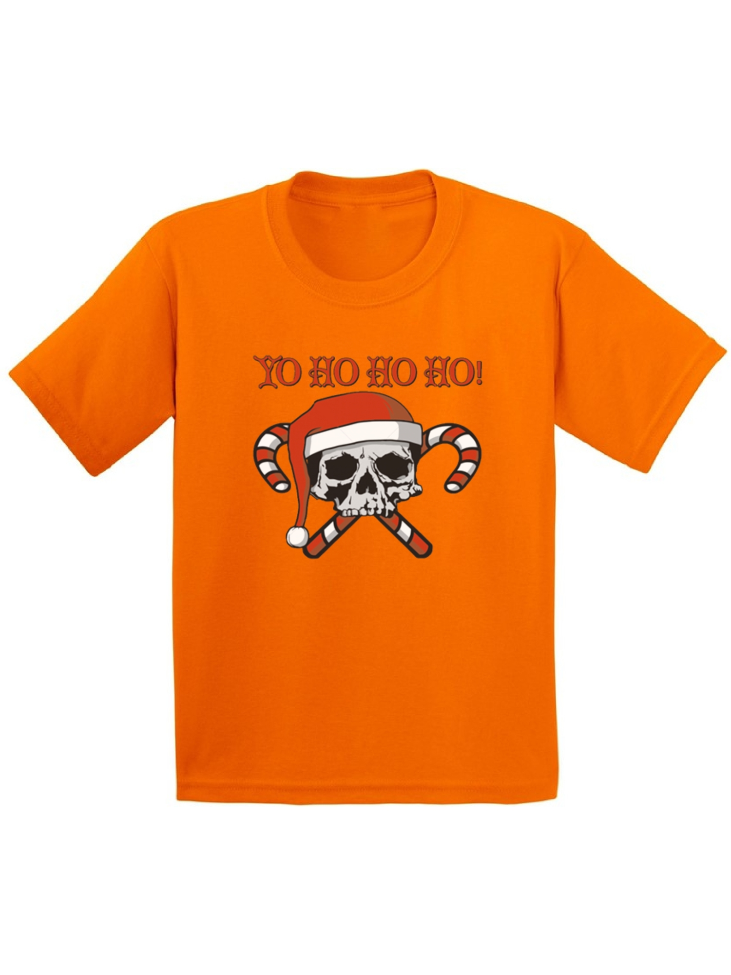 Yo Ho Ho Ho Santa Skull Candy Christmas Shirts for Kids Youth Christmas Tee