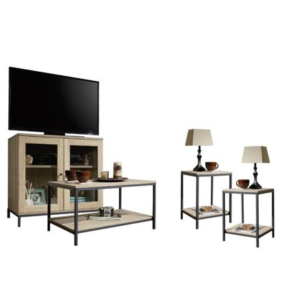 4 Piece Living Room Set With Storage Tv Stand Coffee Table And Of 2 End Tables In Charter Oak