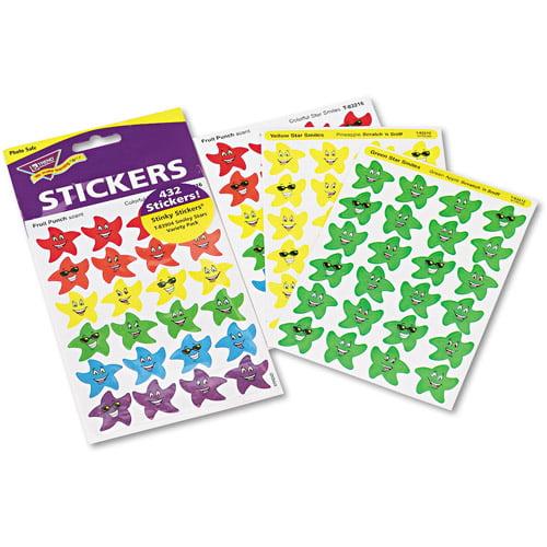 TREND Stinky Stickers Variety Pack, Smiley Stars, 432pk